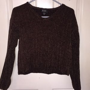 Brown, Cropped Sweater